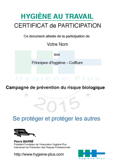Certificat de participation - Coiffure
