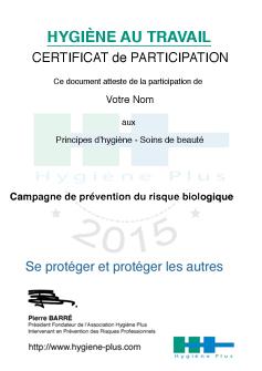 Certificat de participation - Soins de beauté